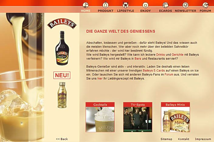 BAILEYS : Flash-Website mit eCard-Versand